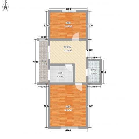 世代锦绣园2室1厅1卫1厨76.00㎡户型图