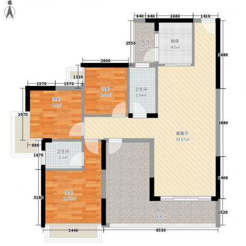 精英世家3室1厅2卫1厨118.00㎡户型图