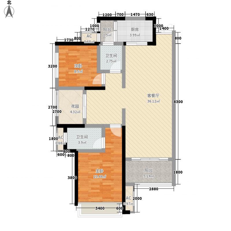 湘银星城15.54㎡二期21/22栋B3~33层户型3室2厅2卫1厨