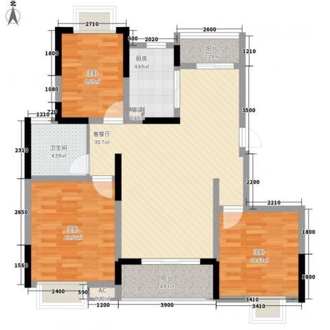 武夷绿洲3室1厅1卫1厨116.00㎡户型图