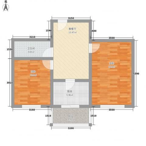 世代锦绣园2室1厅1卫1厨79.00㎡户型图