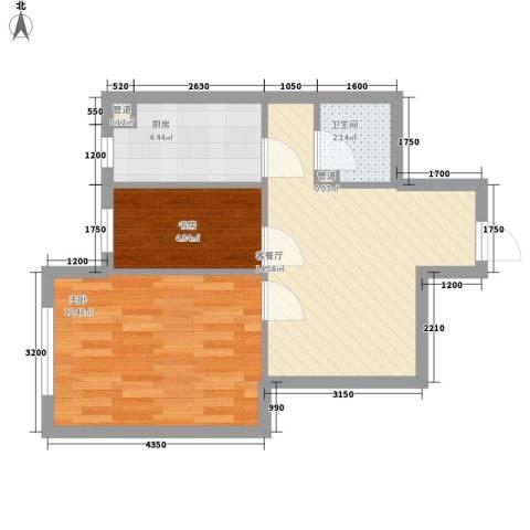 千缘爱在城2室1厅1卫1厨55.00㎡户型图