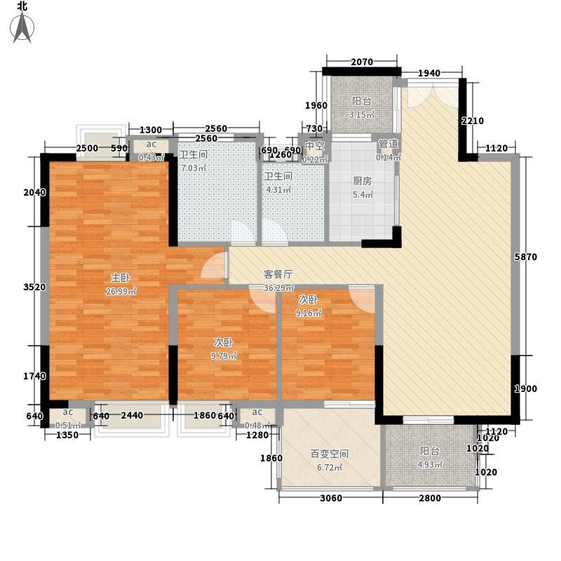 时代城136.00㎡05户型4室2厅2卫1厨