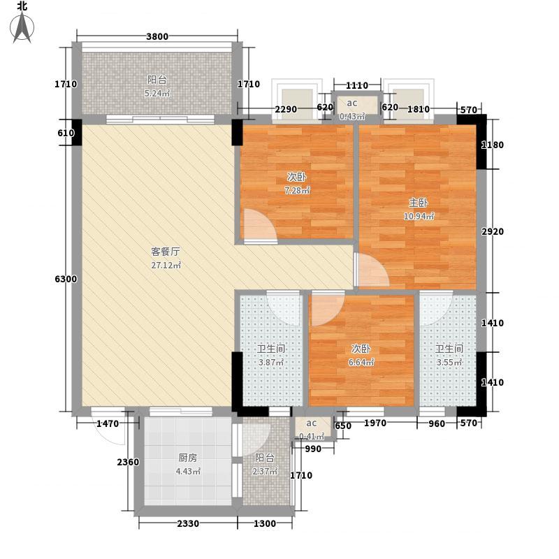 银丰花园户型图40座-43座02单元2-11层 3室2厅