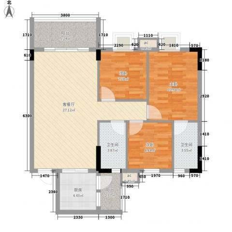 银丰花园3室1厅2卫1厨91.00㎡户型图