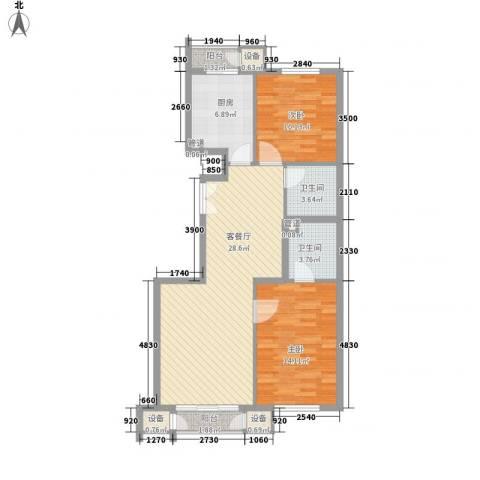 金隅凤麟洲2室1厅2卫1厨105.00㎡户型图