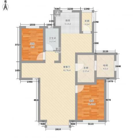 世茂滨江新城2室1厅1卫0厨114.00㎡户型图