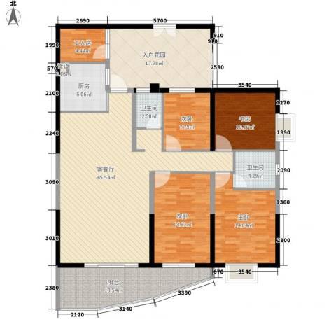 禹洲世纪海湾4室1厅2卫1厨141.31㎡户型图