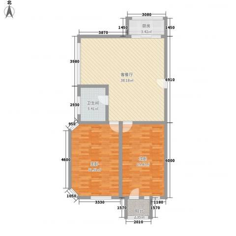 亿达国际新城2室1厅1卫1厨126.00㎡户型图