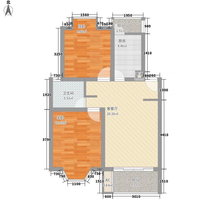 锦华茗园户型图J型 2室2厅1卫1厨