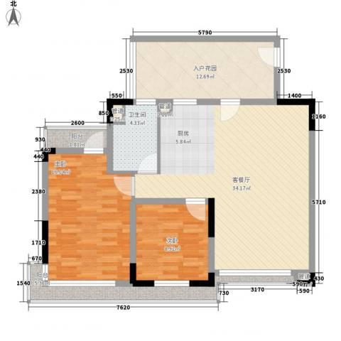 棕榈泉五期2室1厅1卫0厨90.00㎡户型图