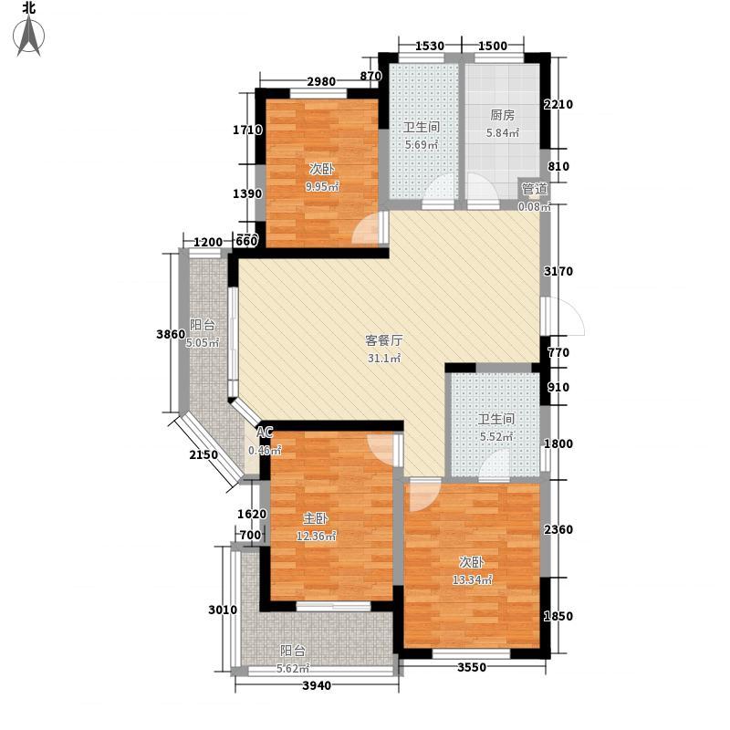 蓉湖山水137.13㎡二期高层B5、B6栋C-B5-1户型3室2厅2卫