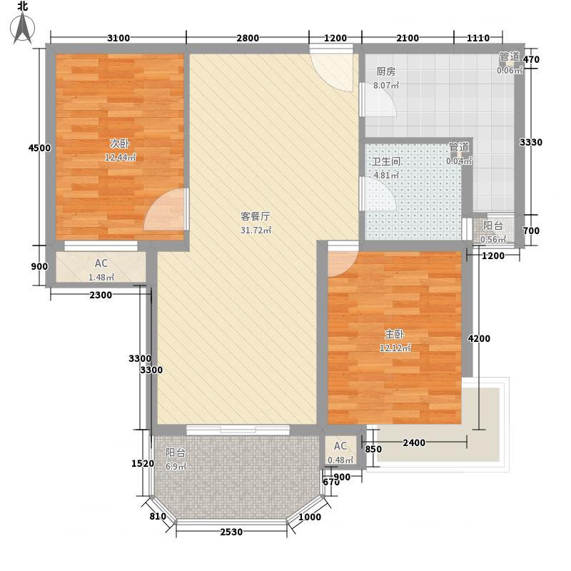 安宁庭院115.36㎡16#D-2户型2室2厅1卫1厨