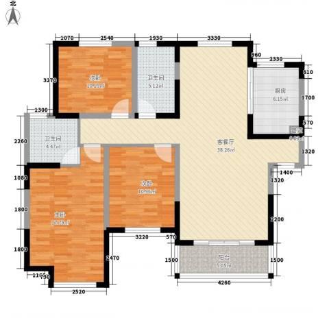 蓉湖山水3室1厅2卫1厨140.00㎡户型图