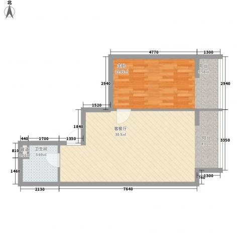 左岸经典1室1厅1卫0厨71.00㎡户型图