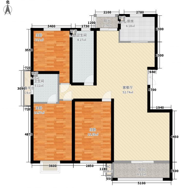 华雁香溪美地157.00㎡二期多层52-59#楼标准层B户型3室2厅2卫1厨