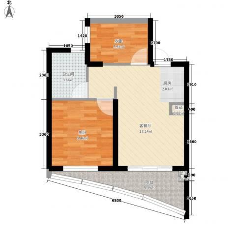 世茂・怒放海2室1厅1卫0厨61.00㎡户型图
