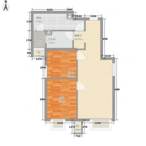 明天第一城1号院2室1厅1卫1厨78.00㎡户型图