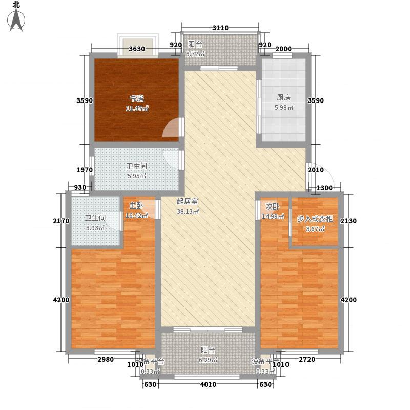 龙新家园142.00㎡c户型3室2厅2卫1厨