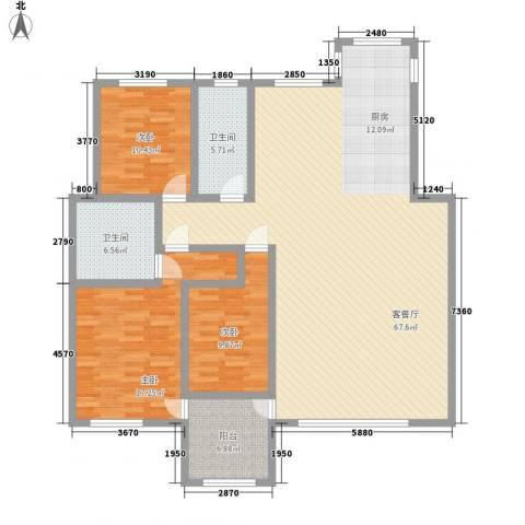 亿达国际新城3室1厅2卫0厨139.47㎡户型图