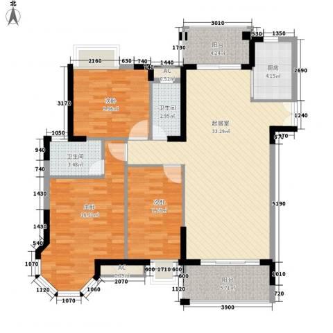 海景蓝湾3室0厅2卫1厨129.00㎡户型图