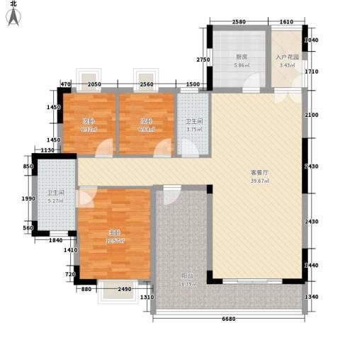 精英世家3室1厅2卫1厨119.00㎡户型图