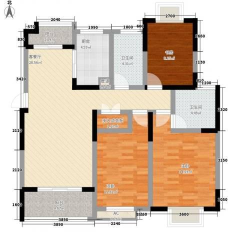 武夷绿洲3室1厅2卫1厨127.00㎡户型图