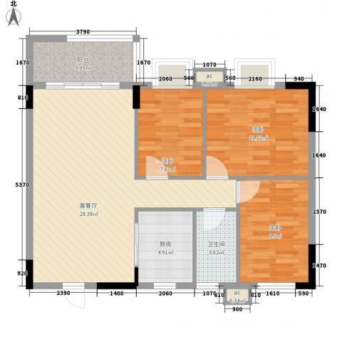 银丰花园3室1厅1卫1厨90.00㎡户型图