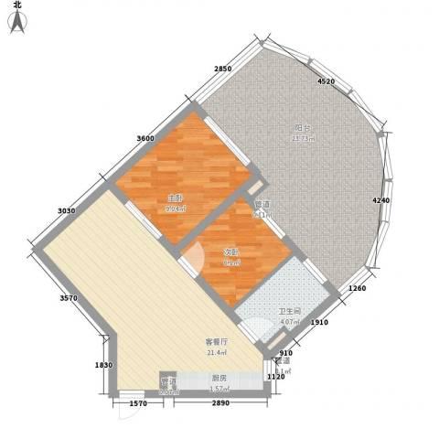 世茂・怒放海2室1厅1卫0厨64.62㎡户型图