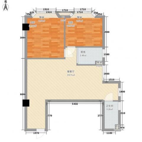 阳光星座2室1厅1卫1厨84.00㎡户型图