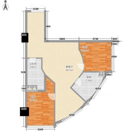 阳光星座2室1厅1卫1厨76.11㎡户型图