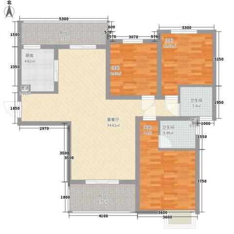 林隐天下3室1厅2卫1厨115.00㎡户型图