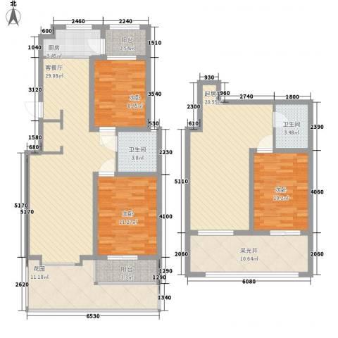 帝都国际城3室1厅2卫1厨170.00㎡户型图