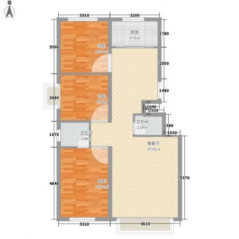 西岸国际3室1厅2卫1厨113.00㎡户型图