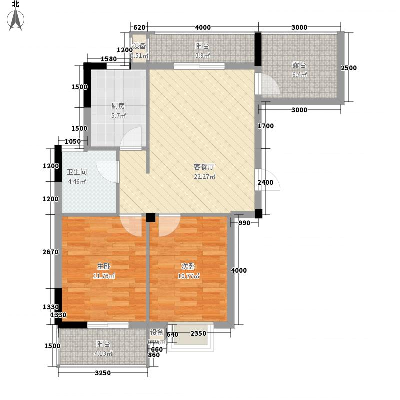 日月山水89.20㎡日月山水户型图二期4栋标准层D1户型2室2厅1卫户型2室2厅1卫