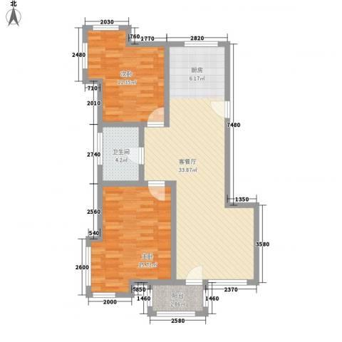 亿达国际新城2室1厅1卫0厨99.00㎡户型图