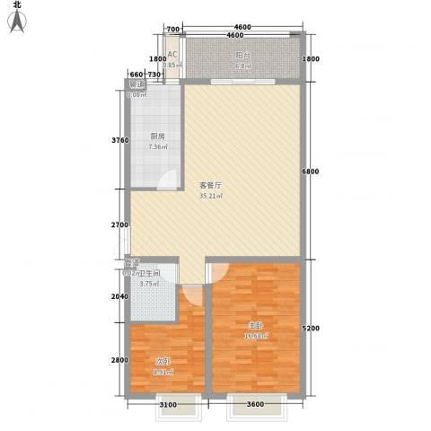 互助路1号2室1厅1卫1厨115.00㎡户型图