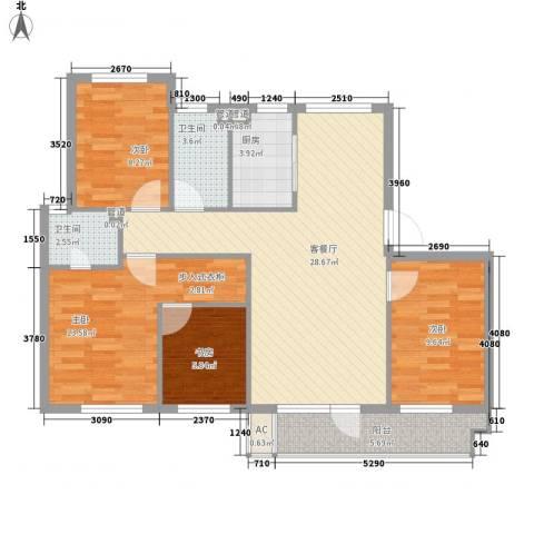 海湾新城4室1厅2卫1厨116.00㎡户型图