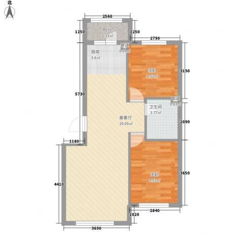 海湾新城2室1厅1卫0厨75.00㎡户型图
