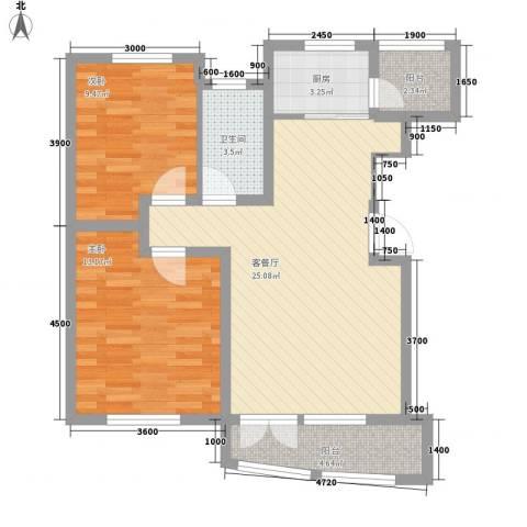 海湾新城2室1厅1卫1厨88.00㎡户型图