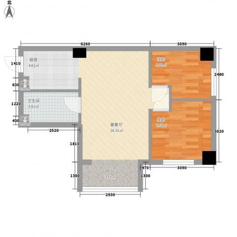 左岸经典2室1厅1卫0厨63.00㎡户型图