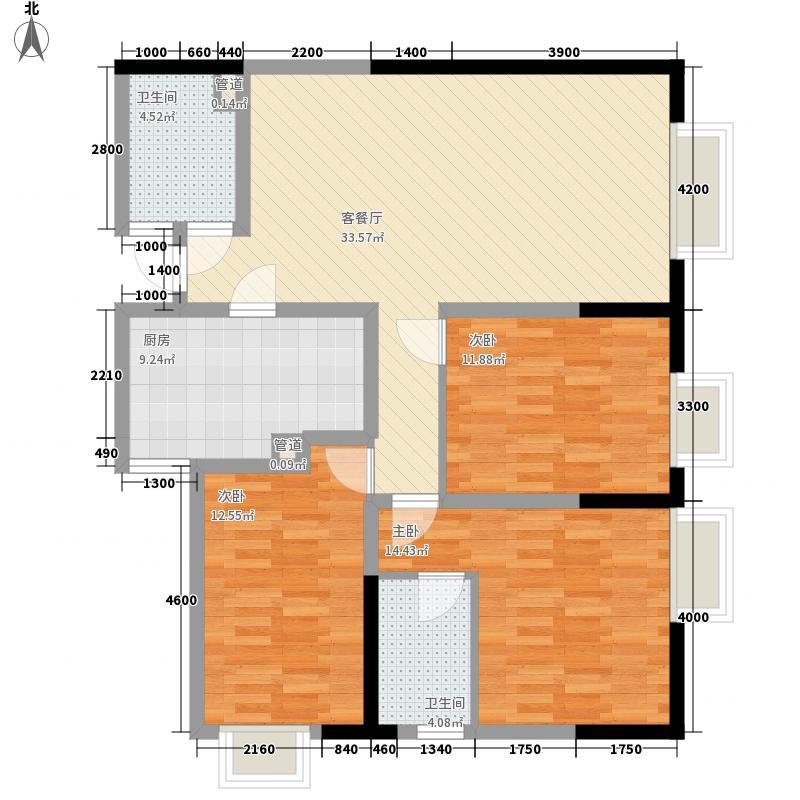 祥源大厦128.60㎡C-1户型3室2厅2卫1厨