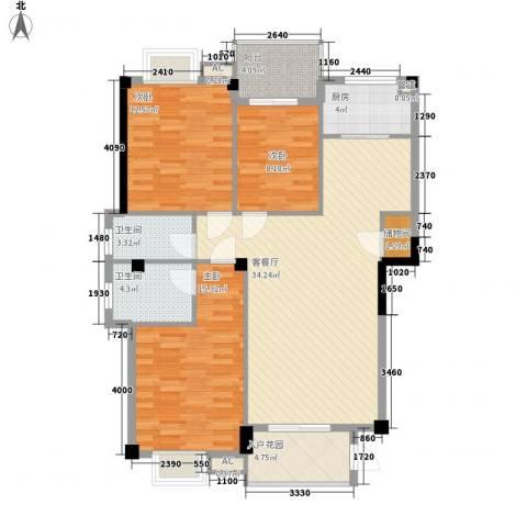 紫荆花园3室1厅2卫1厨131.00㎡户型图