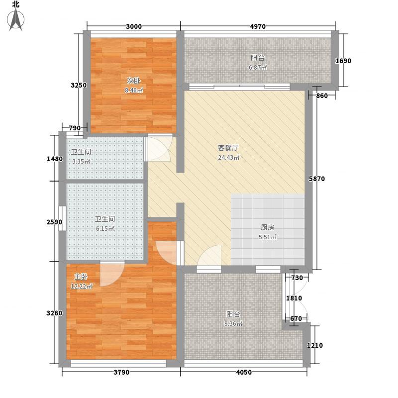 苍山假日公园84.82㎡B2户型2室1厅2卫1厨