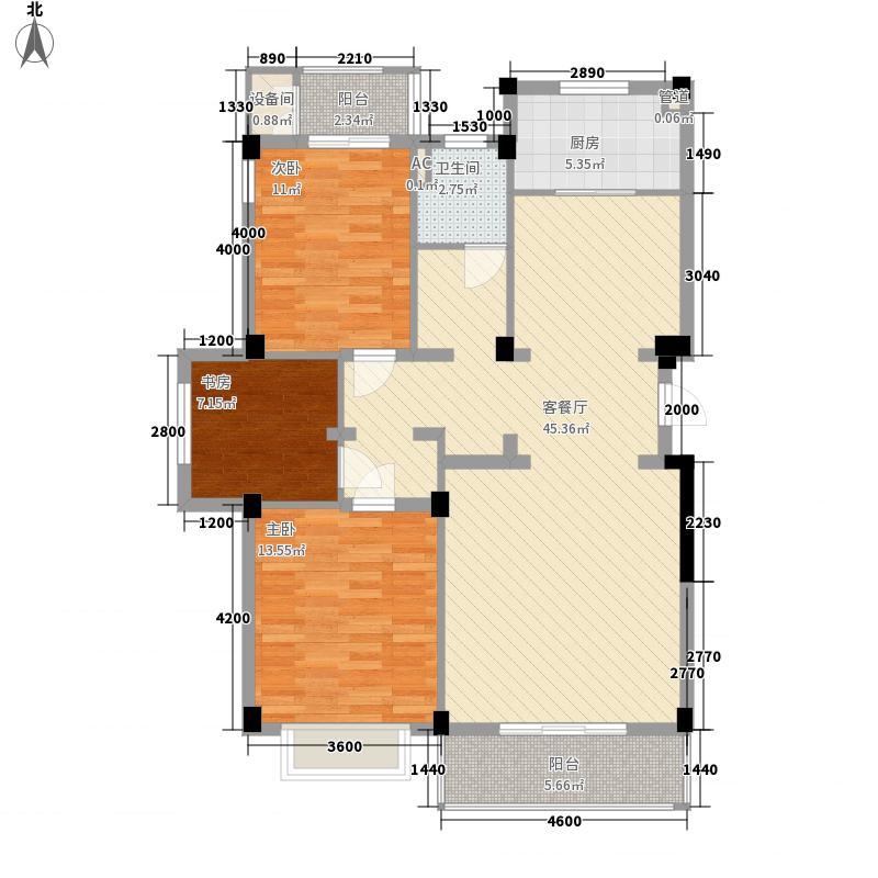 第五郡115.00㎡第五郡户型图6号地D2户型3室2厅1卫1厨户型3室2厅1卫1厨