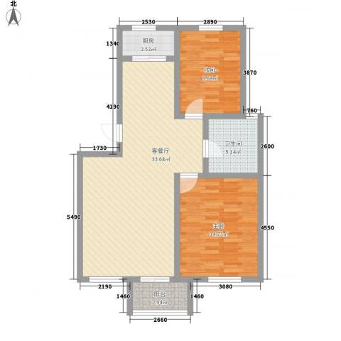 亿达国际新城2室1厅1卫1厨78.66㎡户型图