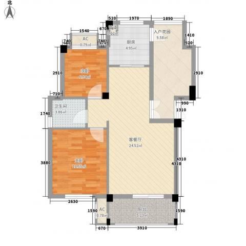 河畔花城2室1厅1卫1厨67.06㎡户型图