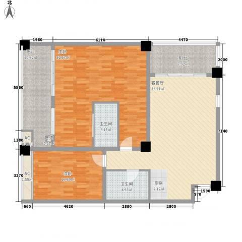 三亚湾红树林度假世界2室1厅2卫0厨165.00㎡户型图