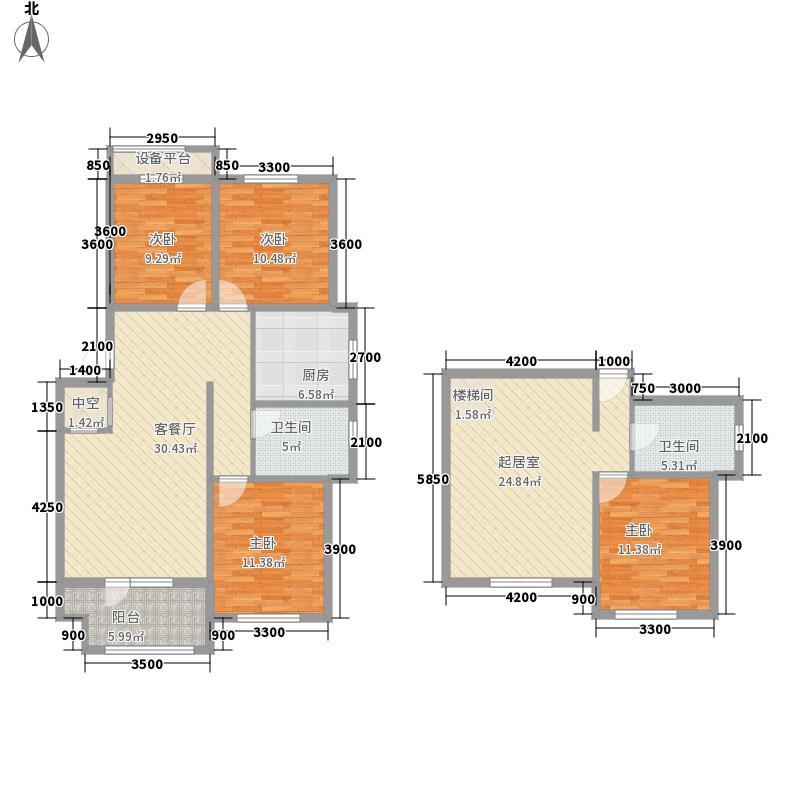 名丰山海文园14.00㎡E户型4室3厅2卫1厨