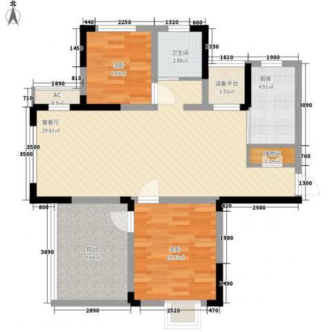 富建洲际逸品2室1厅1卫1厨100.00㎡户型图